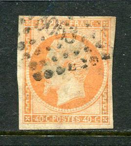 France Lot 6572 Empire Franc 1853 YVERT 16  40 Cent Jaune-Orange Postes Stamp