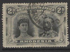 RHODESIA SG171 1910 2d BLACK & GREY-BLACK p15 USED