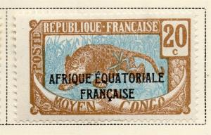 Middle Congo 1924 Early Issue Fine Mint Hinged 20c. Optd 324729