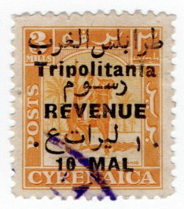 (I.B) BOIC (Tripolitania) Revenue : Duty Stamp 10m on 3m OP