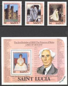 St. Lucia Sc# 591-594 MNH 1982 Princess Diana
