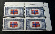 SCOTT # 911 PLATE BLOCK MINT NEVER HINGED NORWAY OVERRUN COUNTRY