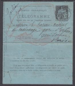 France H&G LA6 used 1884 50c Telegraph Letter Card, F-VF