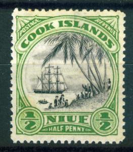 Niue 1/2d yellow green & black issue of 1932 Scott 53, MLH