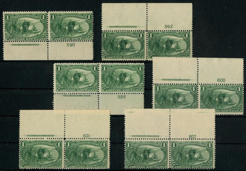 #285 (6) DIFFERENT F-VF OG NH PLATE # PAIRS WITH IMPRINT CV $960 BT8584