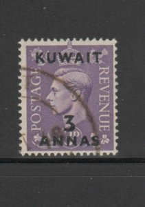 KUWAIT #77  1948  3a on 3p   KING GEORGE VI SURCHARGED   F-VF  USED   e