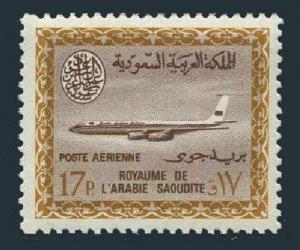Saudi Arabia C49,MNH.Mi 257. Air Post 1966.Saudi Airline Boeing.Saud Cartouche.