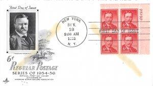 #1039a, 6c Theodore Roosevelt, Art Craft, plate block of 4