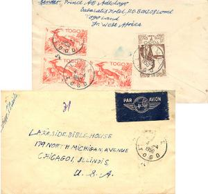 Togo 10F Red-fronted Gazelles (3) and 1F Hunter 1950 Lome, Togo Airmail to Ch...