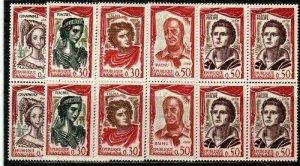 France Scott 997-1001 Mint NH blocks (Catalog Value $20.80)