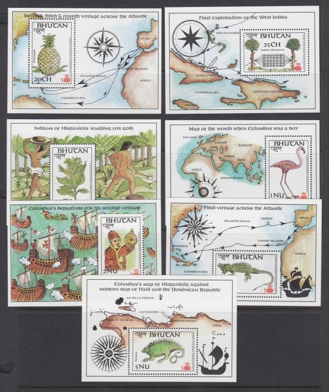 Bhutan Sc 584-596 MNH. 1987 Columbus, cplt set incl stamps & souv sheets, VF.