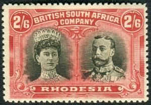 RHODESIA-1910-13 2/6 Black & Lake.  A lightly mounted mint example Sg 155