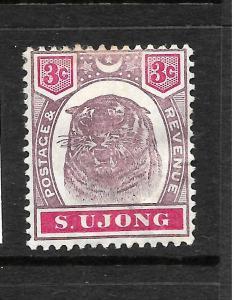 SUNGEI UJONG  1895  3c  TIGER   MHH  SG 55