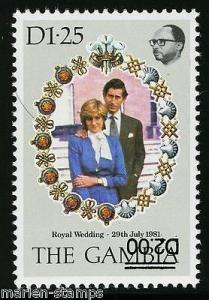 GAMBIA SC# 497C CHARLES AND DIANA WEDDING INVERTED OVPT