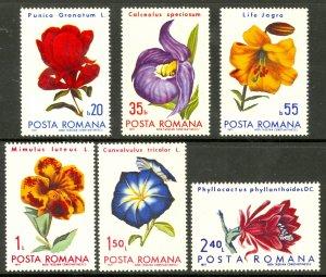 ROMANIA 1971 FLOWERS Set Sc 2249-2254 MNH