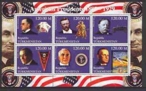 Turkmenistan 2000 US Presidents #06 perf sheet of 6 unmou...