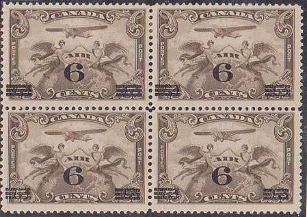 Canada USC #C3 Mint Block of Four Top Pair H Lower Pair NH - F-VF