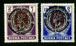 Burma Stamps # IN43-44 Superb OG VLH Rare Set of 2 Scott Value $725.00