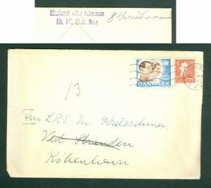 Denmark. Cover 1947 With Christmas Seal + 20 Ore King. Return. Cancel: Svendborg