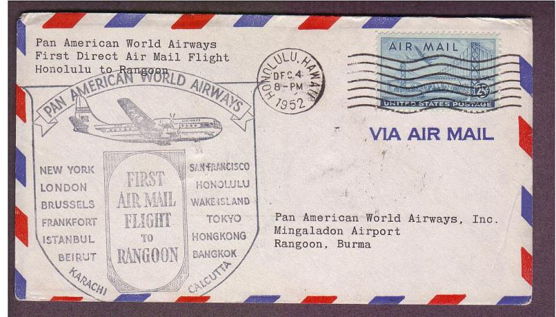 FAM F14-86 - Honolulu to Rangoon, Burma- 12/4/1952 *RARE*