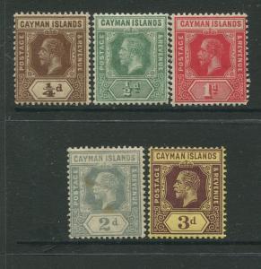 Cayman Islands #32-35,37 KGV MLH  Scott CV. $14.00