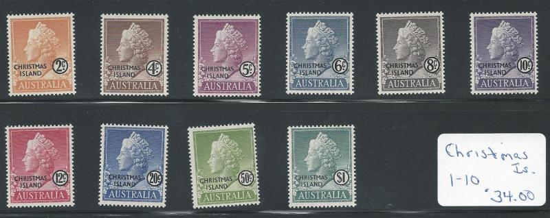 Christmas Is. 1-10 NH VF cplt. Queen Elizabeth set with a