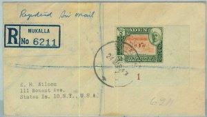 BK0284 -  ADEN - POSTAL HISTORY - SG # 11 on REGISTERED COVER from MUKALLA  1947