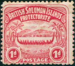 Solomon Islands 1907 SG2 1d rose-carmine Canoe MLH