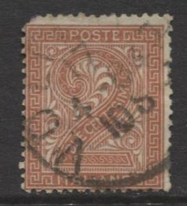 Italy - Scott 25 - Numeral -1863 - Used - 2c - Orange Brown Stamp