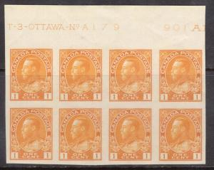 Canada #136 XF/NH Plate #179 Block Of Eight