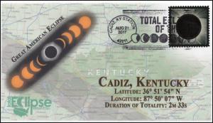 17-260, 2017, Total Solar Eclipse, Cadiz KY, Event Cover, Pictorial Cancel,