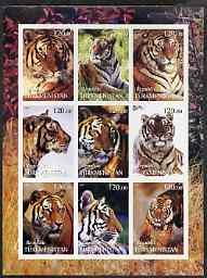 Turkmenistan 2001 Tigers imperf sheetlet containing 9 val...