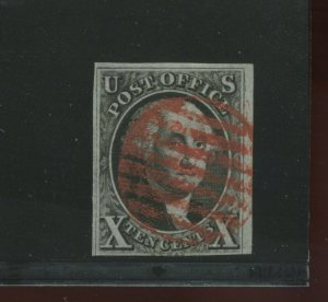 Scott 2 Washington Imperf  Used Stamp with Recut Top Right Frame Line (Stk 2-A5)