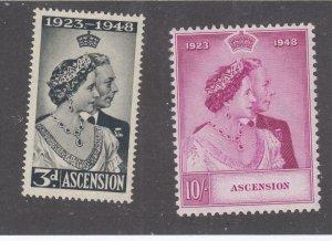 ASCENSION  # 52-53 VF-MNH 1935 KING GEORGE VI SILVER WEDDING  CAT VALUE $58