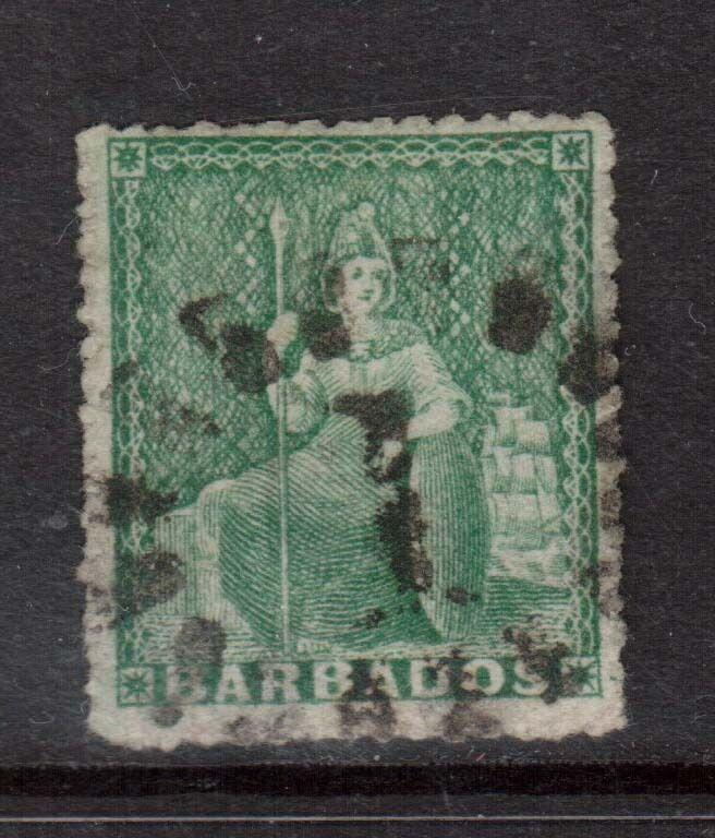 Barbados #12 (SG #16) Used **With Stanley Gibbons Letter**