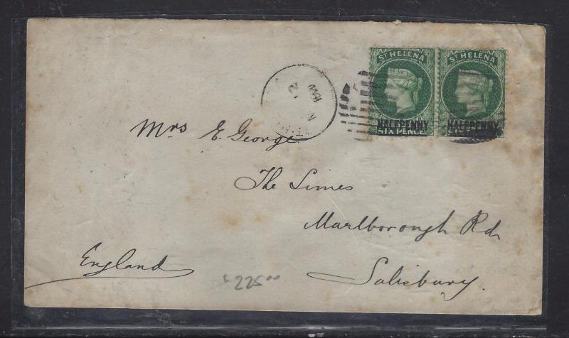 ST HELENA COVER  (P1108B) 1900 QV 1/2D X 2  TO ENGLAND