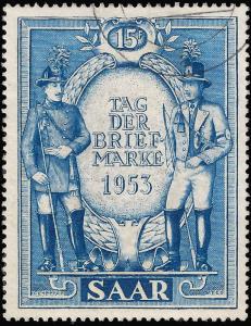Saar 1953 Sc 247 UVF  Stamp Day 1953