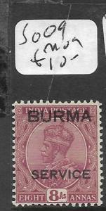 BURMA (P1111B) KGV SERVICE  8A   SG O9   MOG