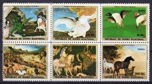 Equatorial Guinea 1976 Paintings Homer-Uccello-Bruegel-Pisanello Sheetlet (6)MNH