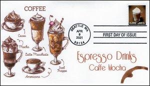 21-083, 2021,Espresso Drinks, First Day Cover, FDI Postmark, Caffe Mocha,