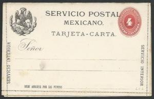 MEXICO early 4c lettercard unused..........................................10450