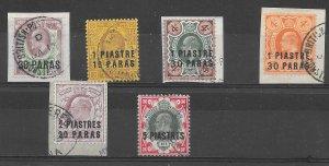 BRITISH LEVANT SG16/21 1909 SURCHARGE SET USED