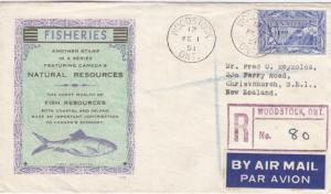 1951, Woodstock, Canada to Christchurch, NZ, FDC, See Remark (C2888)