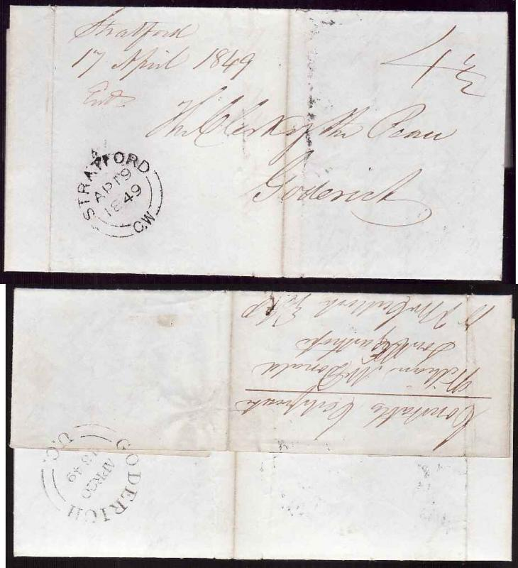 Canada #13068 - Stampless-Perth Cnty-Stratford,CW-double