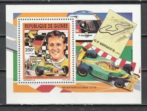 Guinea, Scott cat. 1208. M. Schumacher, Auto Racing value as a s/sheet.