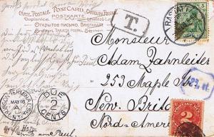 Germany 5pf Germania 1909 Rastatt, 1 PPC to New Britain, Conn.  Shortpaid so ...