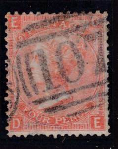 Great Britain 1865 QV Nr.43 4d vermillion Plate-9 F/VF/Used