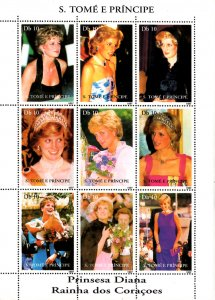 St. Tome & Principe Is. 1997 Princess Diana Royal Family 9v MNH (L-49)