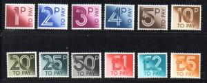 Great Britain Sc J92-103 1982 postage due stamp set mint NH