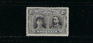 RHODESIA SCOTT #103  1910 DOUBLE HEADS- 2P (GRAY/ BLACK)  MINT HINGED (TINY THIN